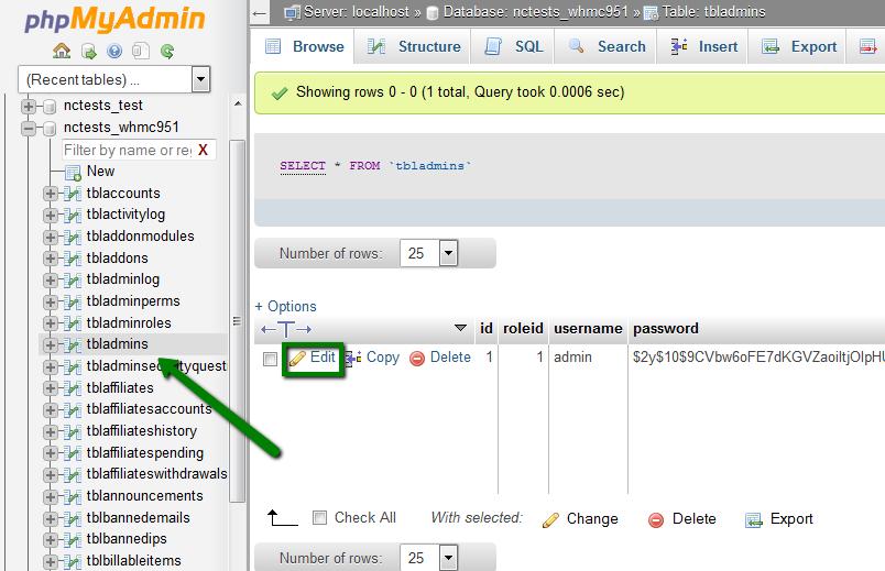 WHMCS数据库重置密码